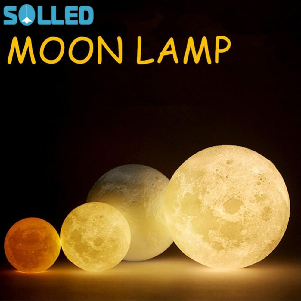 SOLLED 3D Simulation Moon Night Light 3 LEDs USB Rechargeable Moonlight Desk Lamp Wood Base led light jk25 novelty 3d full moon lamp led night light usb rechargeable color changing desk table light home decor 8 10 12 15 18 20cm
