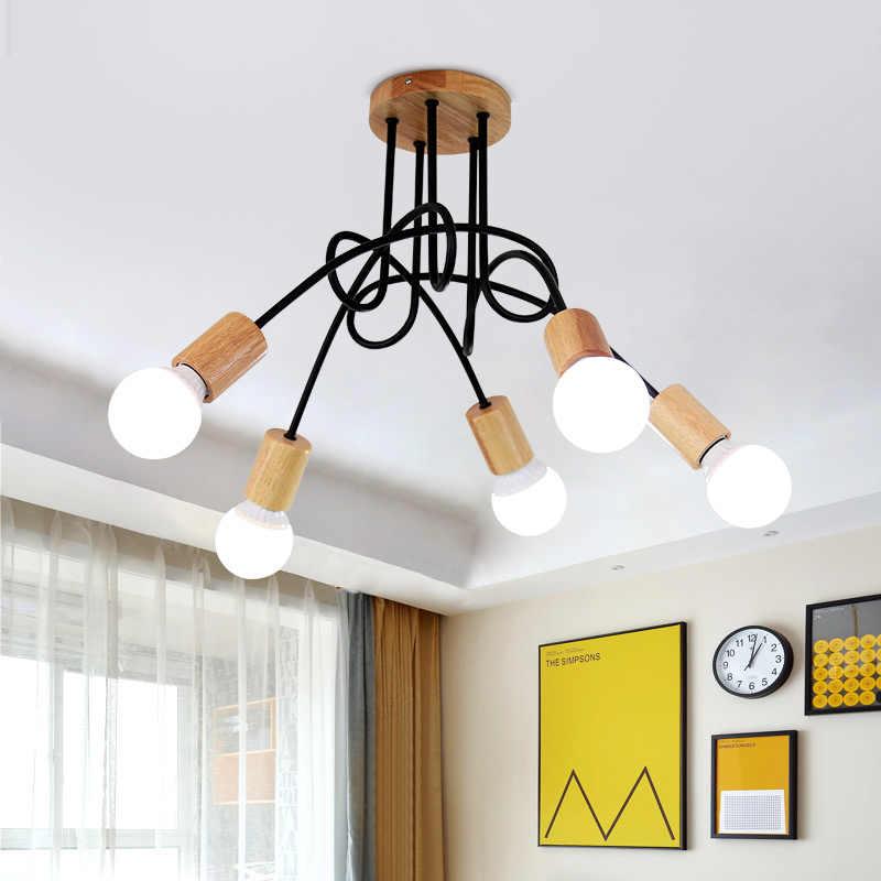 Винтаж промышленный люстра-канделябр в стиле ретро E27 Эдисон лампы Паук Люстра Кухня столовая Cofffee деревянная люстра