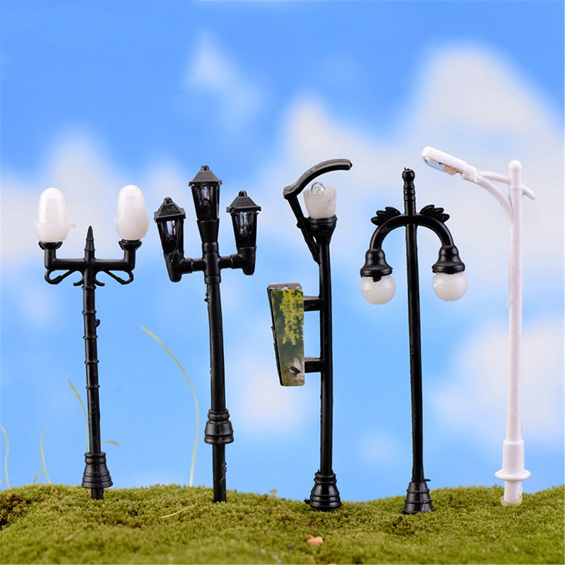 5pcs/set Cute Resin Crafts Decorations Miniature Streetlights Fairy Gnome Terrarium Christmas Xmas Party Garden Gift