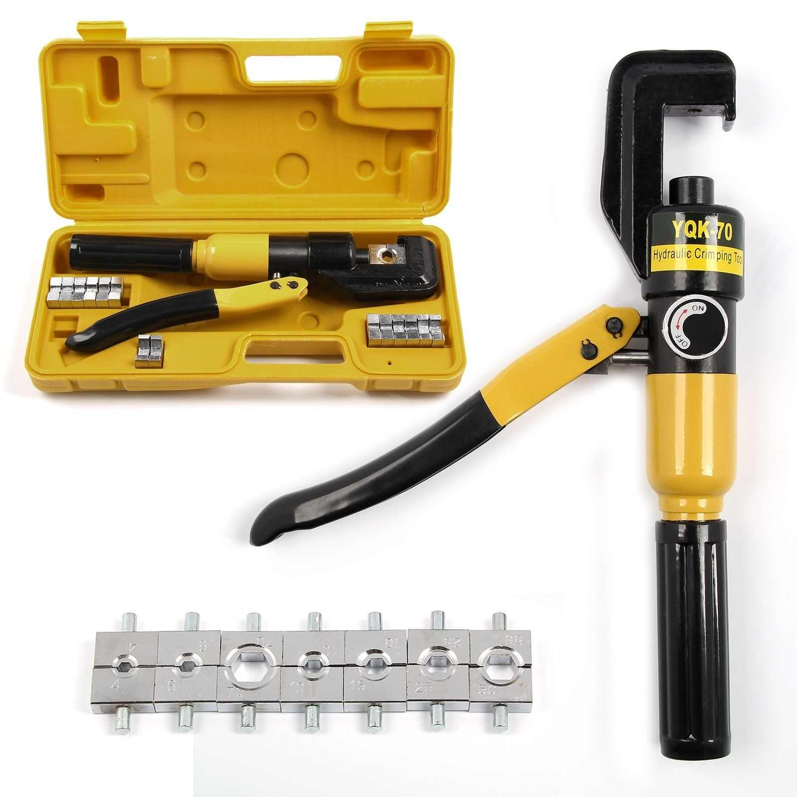 6T Hydraulic Crimper Tool Kit Tube Terminals Lugs Battery Wire Crimping Force