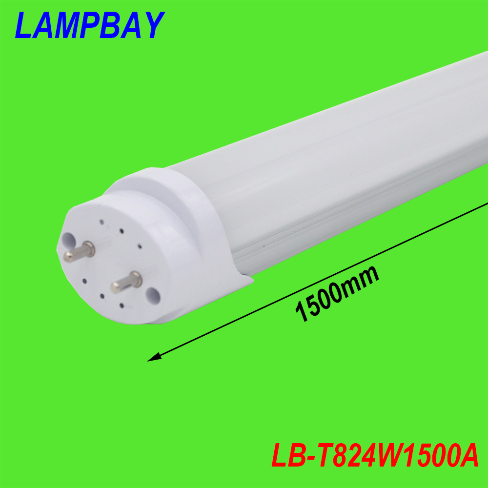 (50 Pack) Free Shipping LED TUBE T8 lamp 24W 1500mm 1.5M 5FT compatible with inductive ballast remove starter 85-277V
