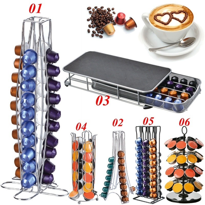 7 Style Coffee Capsule Rack Organizer Stainless Steel Nespresso Coffee Pods Holder Stand Dispenser Coffee Capsule Storage Shelf