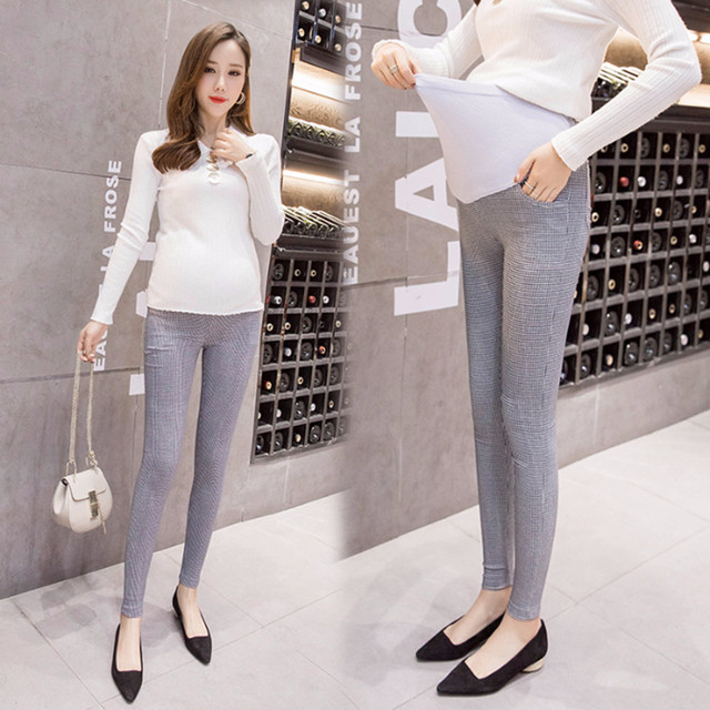 a9803771d9b 3005  Plaid Thin Skinny Maternity Legging Elastic Waist Belly Pencil Pants  Clothes for Pregnant Women Spring Summer Pregnancy