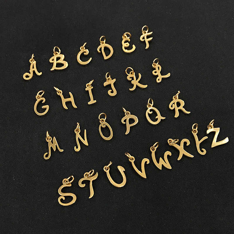 316L Stainless Steel Cut Out Gold Color Alphabet Charms DIY Initials From A-Z Alphabets Pendant with Jump Ring Accessories