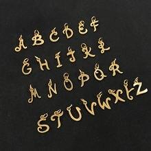316l нержавеющая сталь вырезанный Золотой Цвет алфавит амулеты