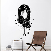 0Earphone Wall Stickers Modern Interior Art Wall Decoration Kids Room Nature Decor Nordic Style Home Decoration