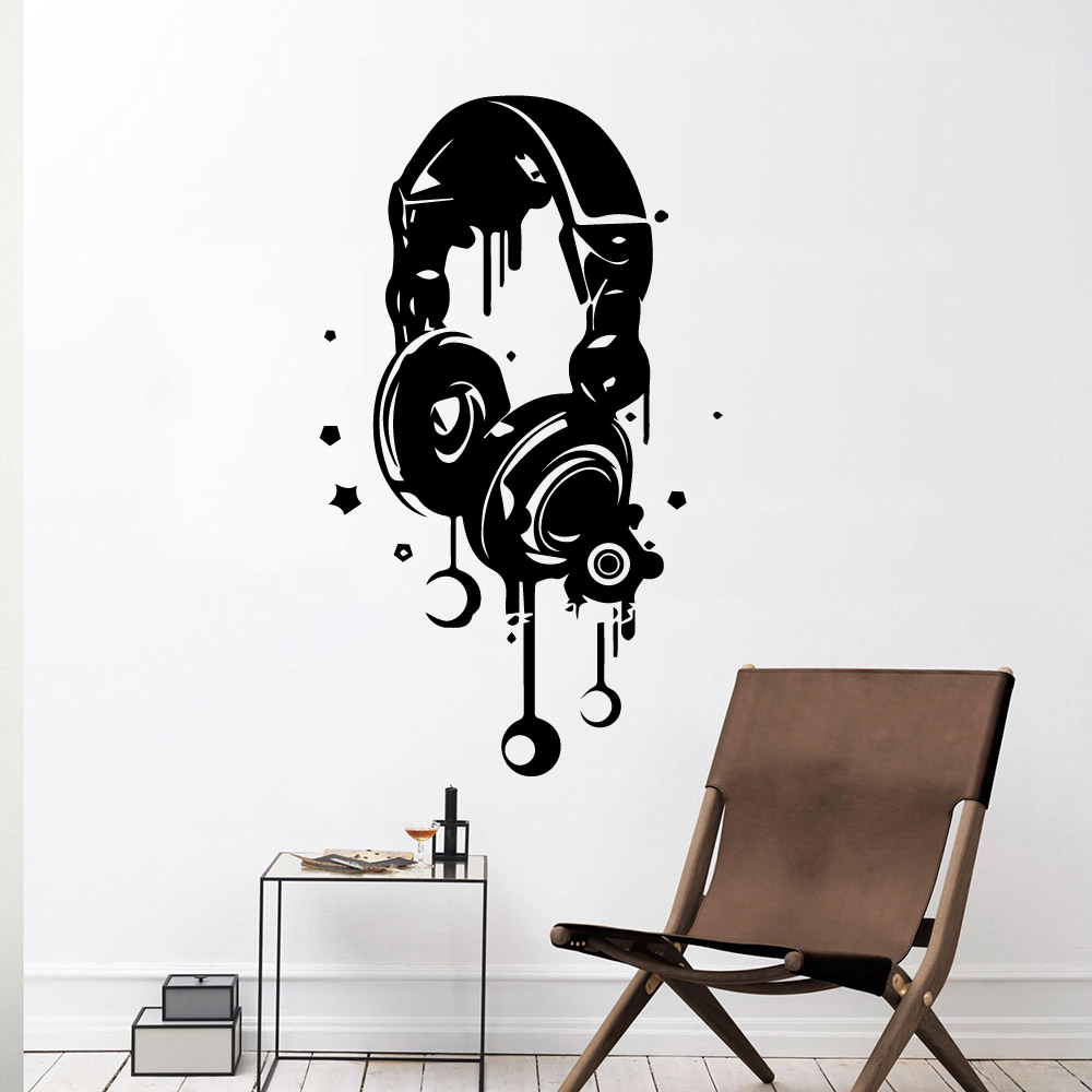 0Earphone Wall Stickers Modern Interior Art Wall Decoration Kids Room Nature Decor Nordic Style Home Decoration in Wall Stickers from Home Garden