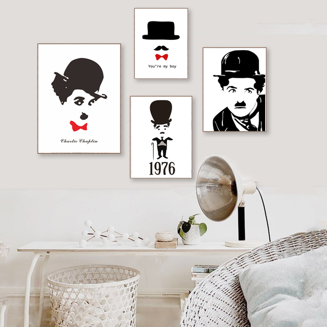 Minimalist black white chaplin art prints posters funny hippie canvas painting picture home office wall decoration