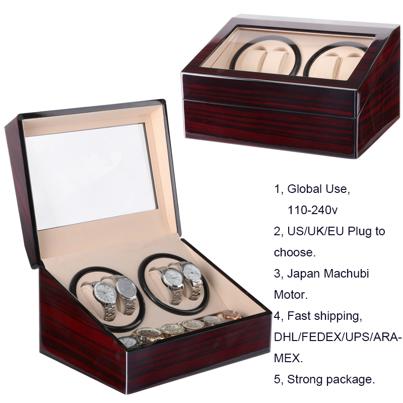 DHL/Fedex Fast Send Automatic Mechanism Watch Winders Slots Wooden Cabinet Rotate Watch Box Motor Global Use 110-240V Safe Plug купить в Москве 2019