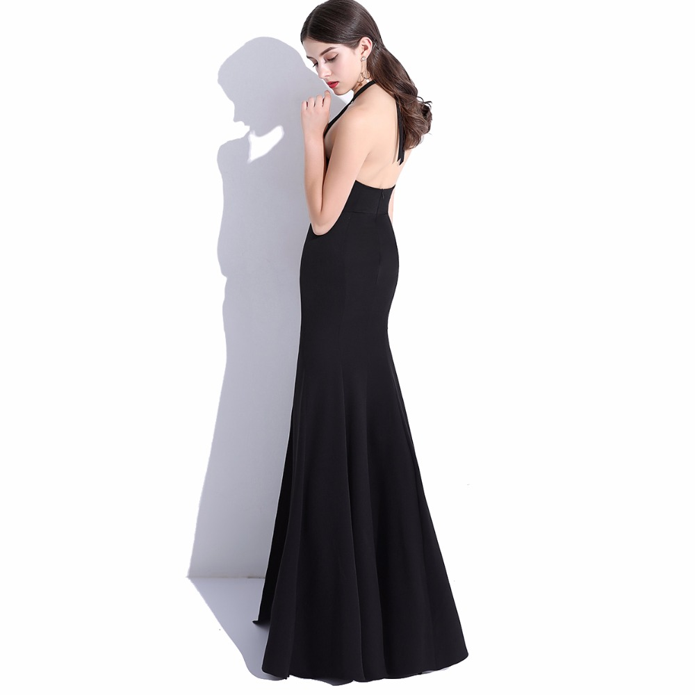 CEEWHY Halter Mermaid Formal Gown Evening Dress Real Picture Womens ...
