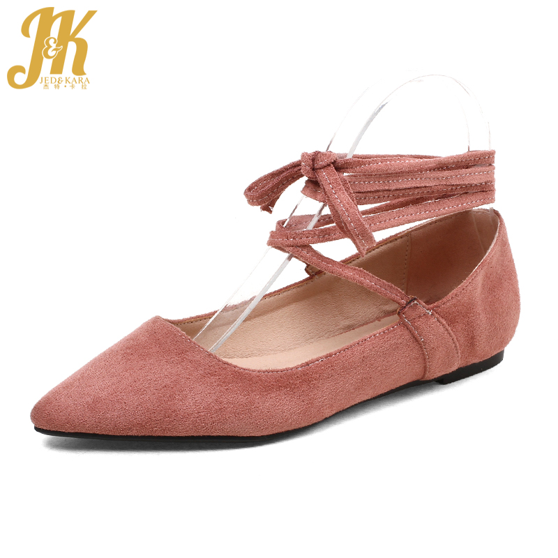301f29c078d JK Big Size 2018 Fashion Women Ballet Flats Spring Pointed Toe Ballerina  Shoes Women Flat Outsole Flock Cross Tied Female Shoes-in Women s Flats  from Shoes ...