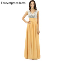 Forevergracedress Real Photo Yellow Sequins Evening Dress Hot Sale A Line Chiffon Sleeveless Long Formal Party