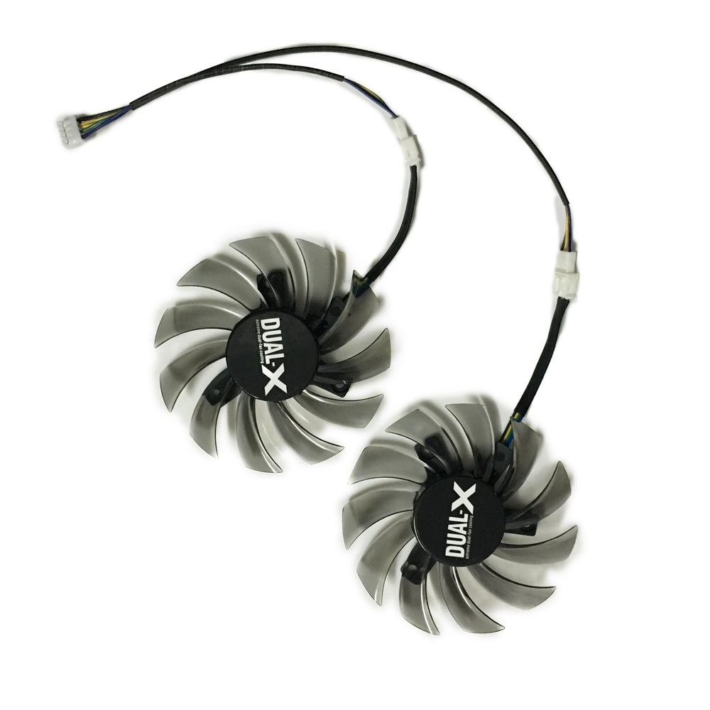 2 pieces/lot  75MM FD7010H12S DC 12V 0.35A VGA Cooler Fan Replacement For Sapphire HD6930 HD7850 Graphics Card 2pcs lot pld08010s12hh 75mm dc 12v 0 35a 4pin dual cooler fan as replacement for msi twin frozr iii graphics video card