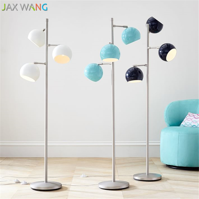 Standing Lights For Living Room Pictures Of Rooms Decorated Christmas American Iron Ball Floor Lamp Led Adjustable Bedroom Bedside Lamps Sofa Home Lighting Fixtures