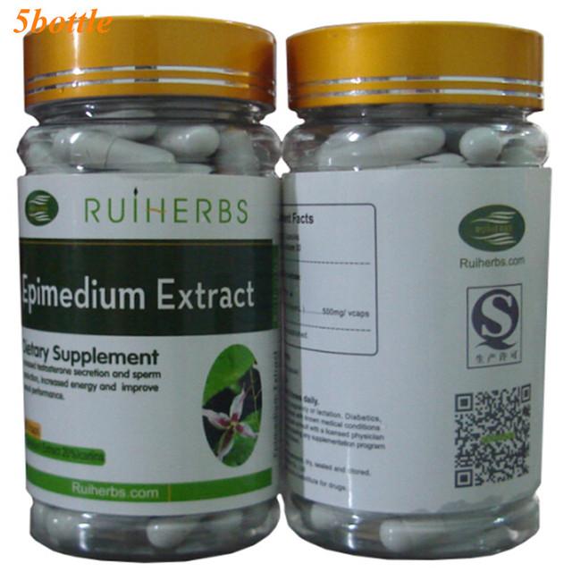 5 Botellas de Horny Goat Weed (Epimedium) Extracto 20% Icariins 500 mg x 450 Cápsulas envío libre