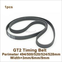 POWGE 494 500 520 524 528 2GT зубчатый ремень W = 3/6/9/15 мм T = 247/250/260/262/264 GT2 замкнутому циклу синхронного ремня 3D-принтеры 528-2GT