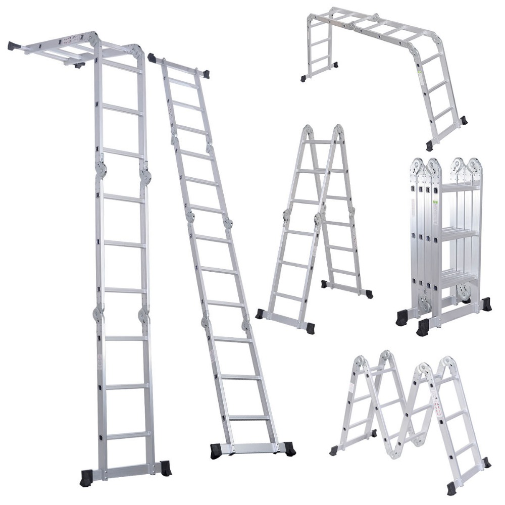 Multiusos plataforma de paso de aluminio plegable escalera for Escalera aluminio plegable articulada precio