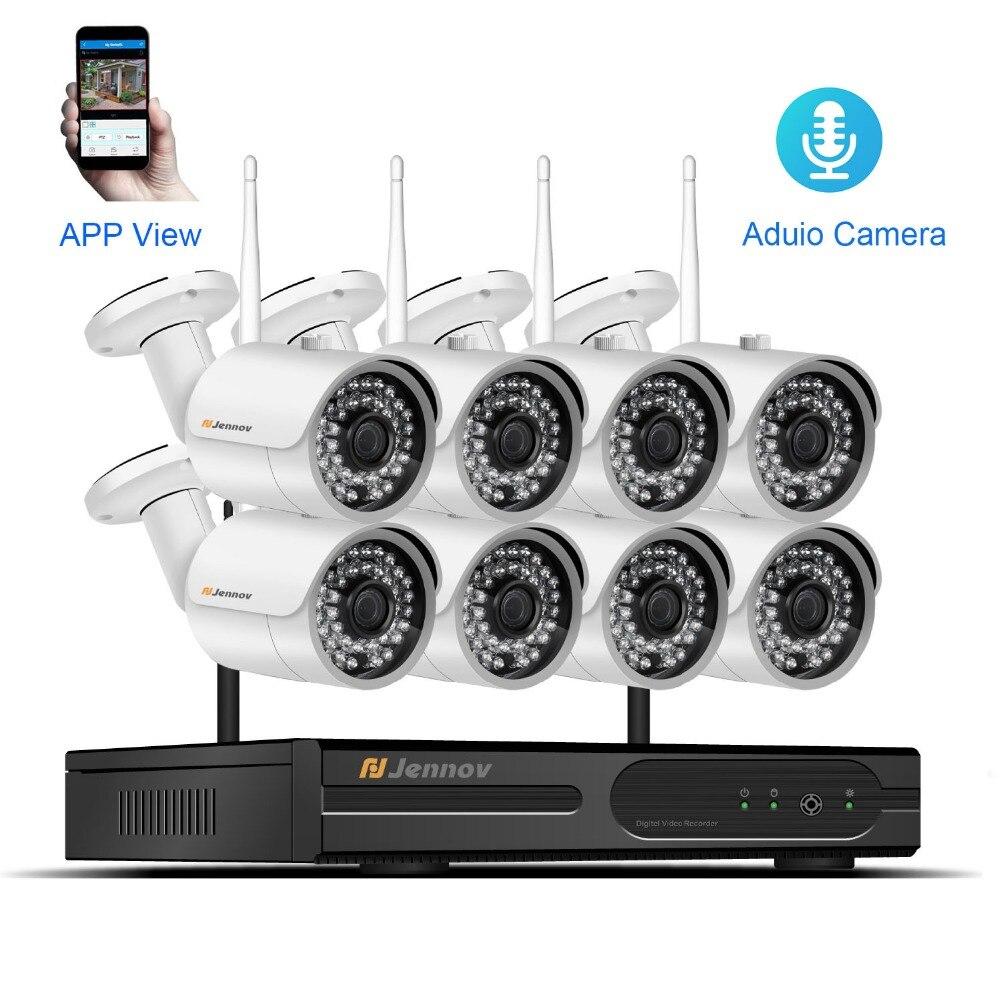 цена на 8CH CCTV Kit 1080P Wireless CCTV Security Camera System Audio Record With NVR Wifi Video Home Outdoor Surveillance Set IP Camera