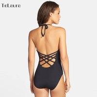 2017 One Piece Swimsuit Women Swimwear Bandage Vintage Beach Wear Solid Bathing Suit Monokini Retro Swimsuit