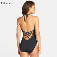 2017 One Piece Swimsuit Women Swimwear Bandage Vintage Beach Wear Solid Bathing Suit Monokini Retro Swimsuit