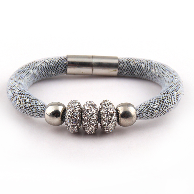 MOODPC Free shipping 3 piece crystal ball with small pipe decoration inside ladies fashion magnetic stretch bracelet