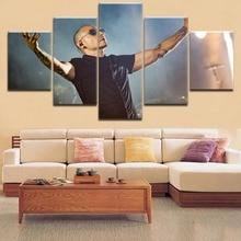 Framework 5 Pieces HD Printing Canvas Painting Chester Bennington Poster Frontman Linkin Park For Modern Decor Living Room