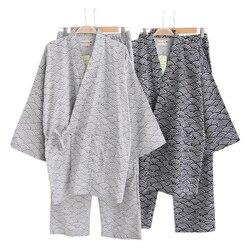 ربيع 100% القطن منامة مجموعات الرجال ثوب الكيمونو الياباني طويل الأكمام بيجامة الأزواج بسيطة بيجامة hombre سبا رداء دعوى الرجال