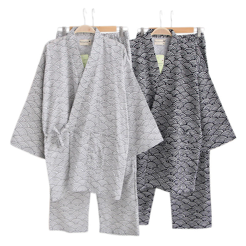 Spring 100% Cotton Pajamas Sets Men Japanese Kimono Long-sleeve Pyjamas Couples Simple Pijama Hombre SPA Robe Suit Men