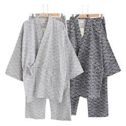 Весенние пижамы из 100% хлопка, мужские японские кимоно с длинным рукавом, пижамы для пар, простая Пижама hombre SPA Robe, костюм для мужчин