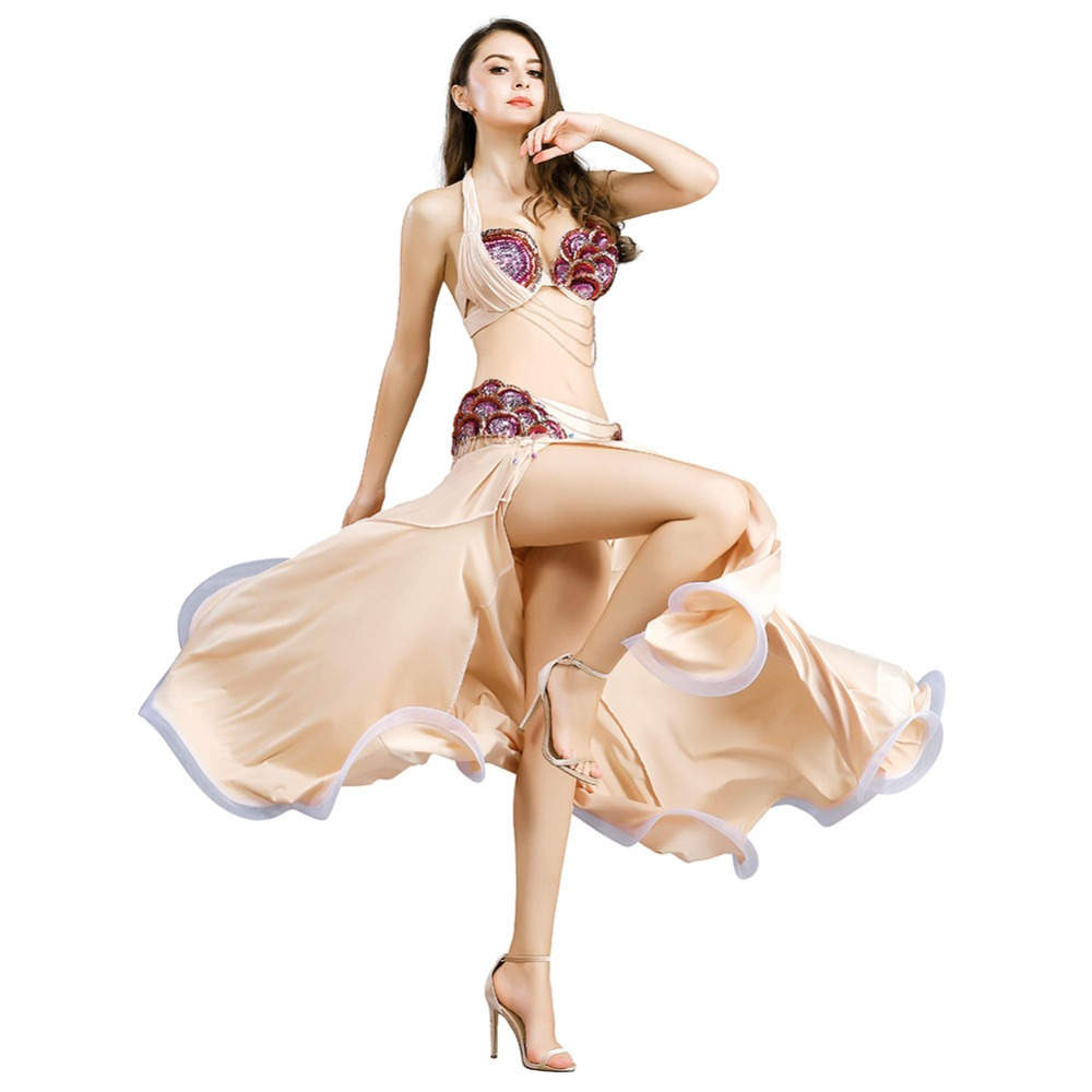 2018 Free Shipping Women Belly Dance Clothes Stage Performance Dance Wear Diamond Set Professional Belly Dance Costume Set 8831