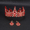 New Fashion Luxurious red Crystal Queen Crown tiaras Magnificent rose gold Diadem for bride Wedding Hair jewelry Accessories