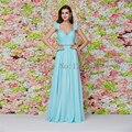 Elegante Plissado Frisado Belt Longo Vestido de Baile Chiffon Até O Chão Vestidos de Festa Formal Vestidos de Noite 2017 Vestido De Festa CGE425