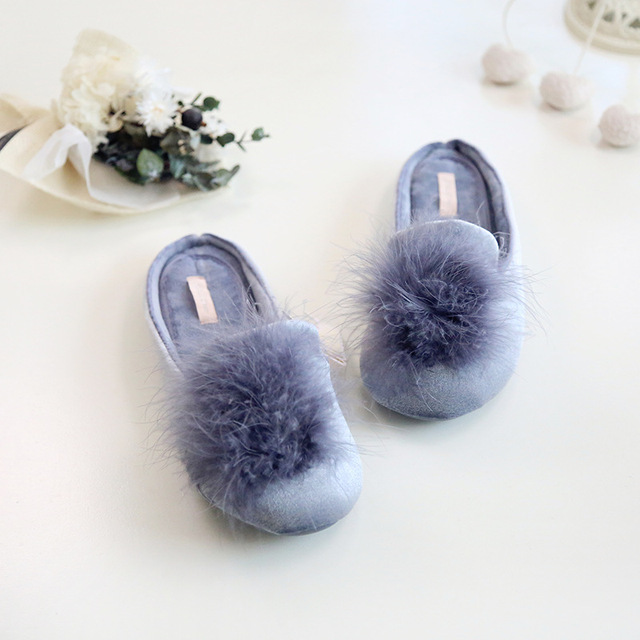 2017 New Plush ball Cute Pompons Women Slippers Home Indoor Women House Shoes Summer Ladies Slides leisure orange Brand