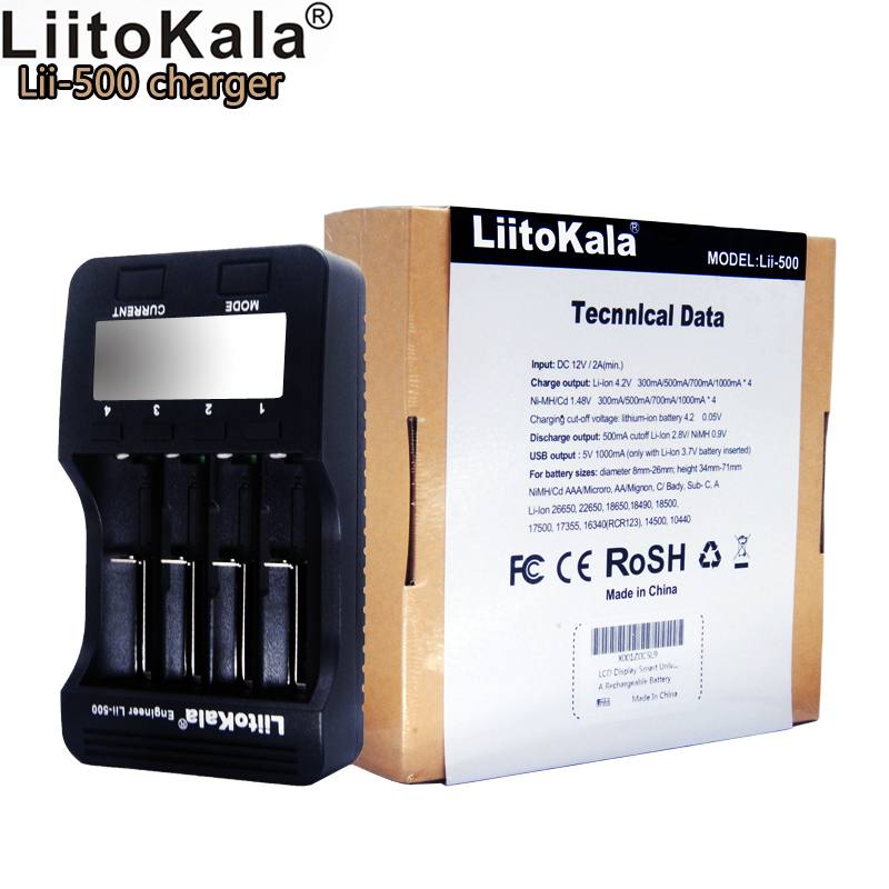 Liitokala lii-500 LCD 3.7V/1.2V AA/AAA/ 18650/26650/16340/14500/10440/18500 Battery Charger with screen+12V2A adapter Lii-500
