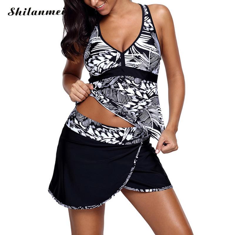 db2df517a16d7 2018 NEW Plus Size Swimwear Women Tankini Sets Large Size Print Push Up  Swimsuit Backless Beach