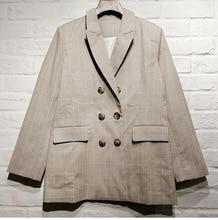 France style elegnt womens plaid blazers coat New 2019 spring autumn fashion casual blazer jackets A170