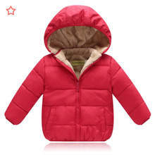 Children's jackets 2018 New Style Thicken Children Feather Cotton clothing Boys and girls Hooded plus velvet Short cotton jacket