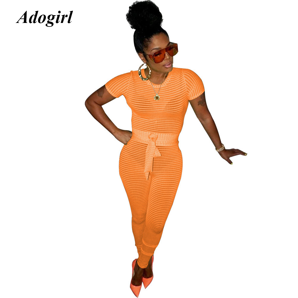 Adogirl Sexy Transparent Knit Rib Jumpsuit Casual O Neck Lace Up Bandage Skinny Rompers Bodycon Night Club Long Pants Overalls