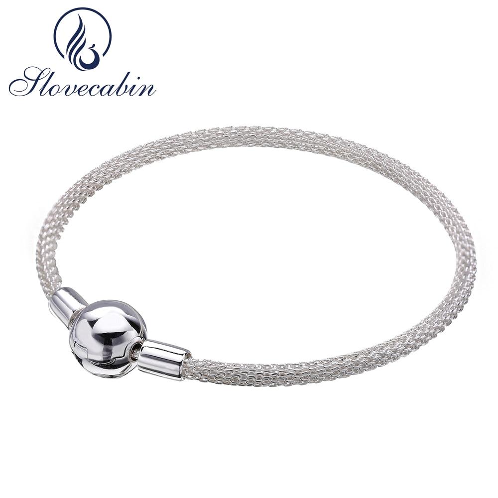 цена на Slovecabin Valentine's Day Gift 925 Sterling Moments Silver Mesh Charm Bracelet For Women Wedding Bracelet Silver 925 Jewelry