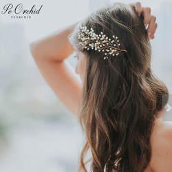PEORCHID золото свадебные волосы аксессуары для волос Свадебные обруч жемчужный Пром свадебное украшение для волос Tocado De Novia 2019