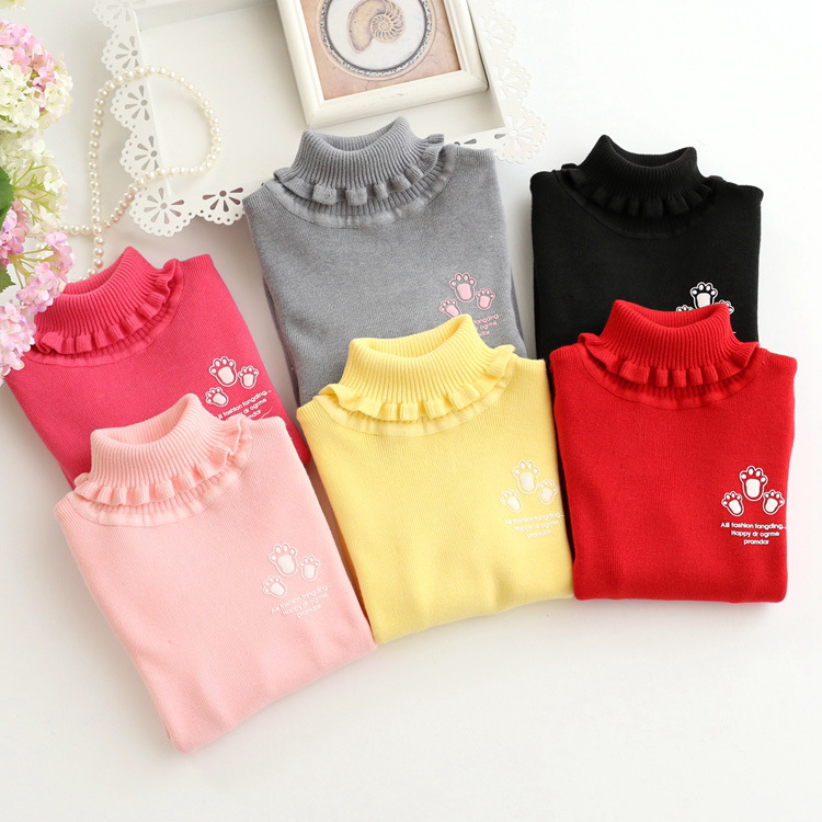 High Quality Sweet Sweaters for Girls Students Knit Pullovers Turtleneck Girls Sweaters Winter Warm Children's Clothing for 1-8T turtleneck rib knit dress