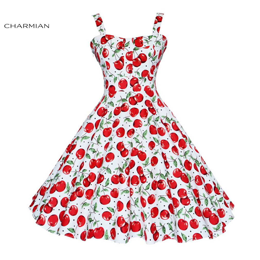 Charmian Summer 1950 s Vintage Audrey Hepburn Style Wide Slip Dress for Women  Retro Cheery Print Casual Beach Dress vestido-in Dresses from Women s  Clothing ... 8d5ae4a6072a