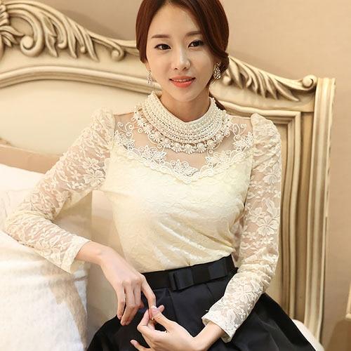 Dingaozlz elegant long sleeve bodysuit beaded Women lace blouse shirts crochet tops blusas Mesh Chiffon blouse female clothing 6