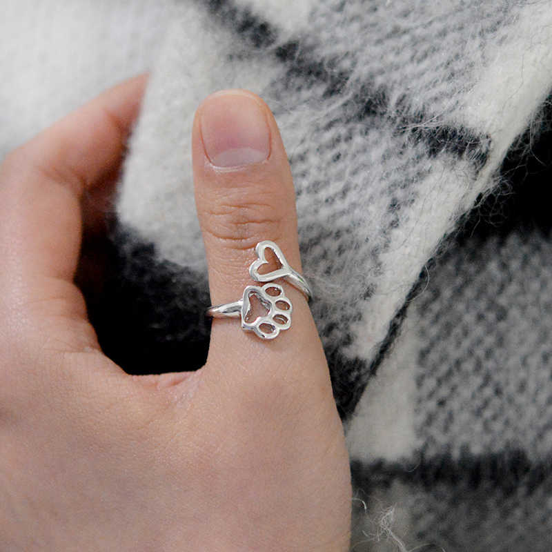 373c2bb991f31 Miss Zoe Always By My Heart Adjustable Ring Animal Beloved Pet Ring Hollow  Dog Paw Heart Jewelry Ring For Dog Owners