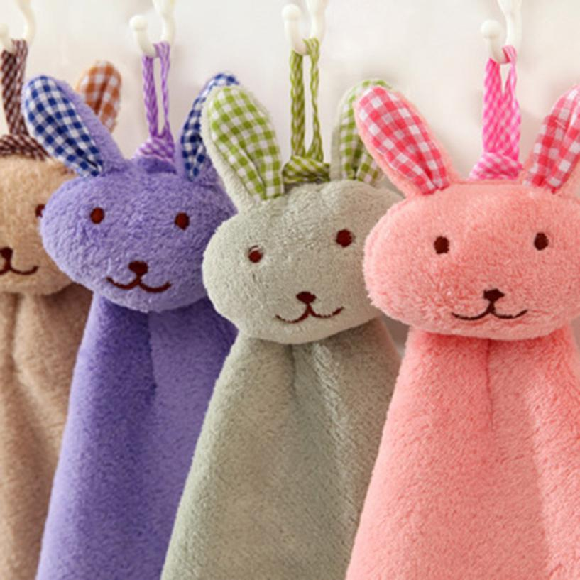 2018 Baby Hand Towel Cartoon Animal Rabbit Plush Kitchen Soft Hanging Bath Wipe Towel 3qw0529
