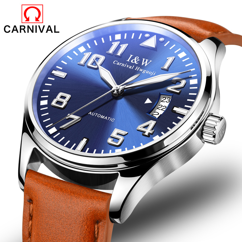 Carnival Watch Men Automatic Mechanical Silver Stainless Steel Waterproof multifunction Blue Dial Leather Watches все цены
