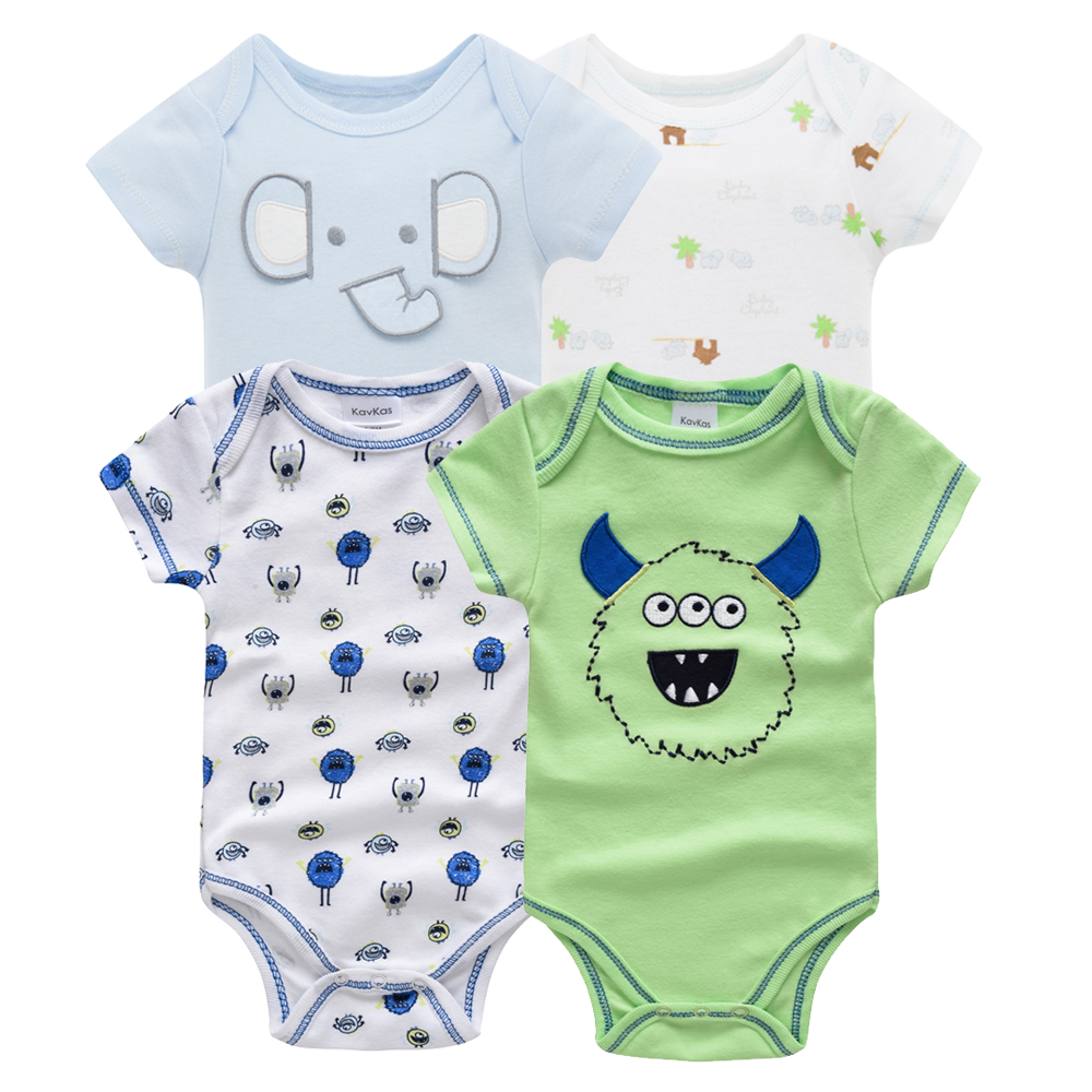 Kavkas/одежда для сна для маленьких мальчиков, комплект из 4 шт./компл., одежда с короткими рукавами для новорожденных, пижамы для мальчиков, Infantile, одежда для сна для маленьких мальчиков - Цвет: HY20782169