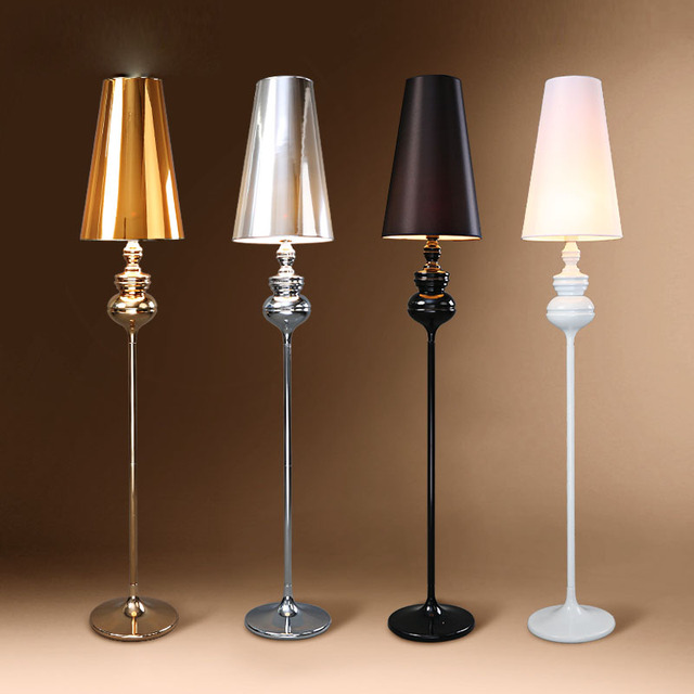 Mysterious Black Fabric Bedroom Floor Lamps Modern Golden PVC Living ...