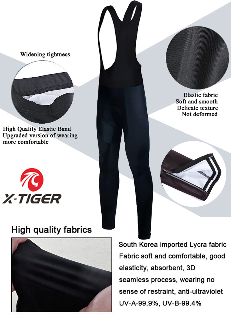 X-Tiger Winter Cycling Thermal Bib Pants With 3D Gel Pad Bicycle Quick-Dry Cycling Pants Keep Warm Whole Black MTB Bike Trousers 2