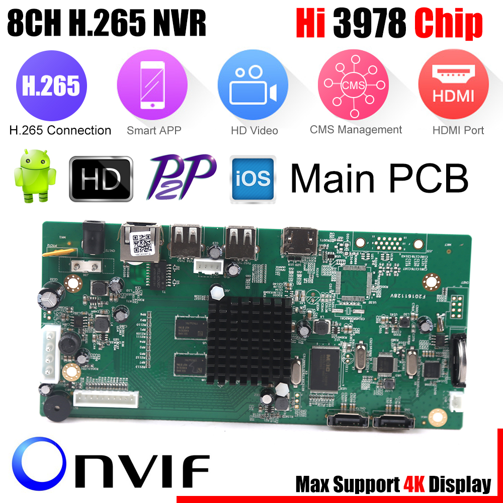 8CH CCTV H 265 NVR Board 4K 5MP 4MP HI3798M Security NVR Module 4CH 5MP 8CH